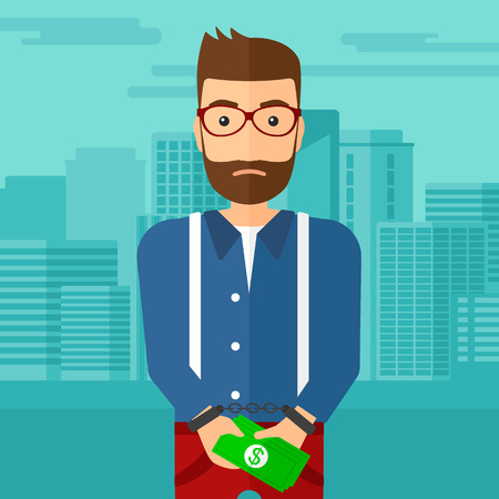 prisoner of the money: A hipster man with the beard in handcuffs with money in hands on the background of modern city vector flat design illustration. Square layout.