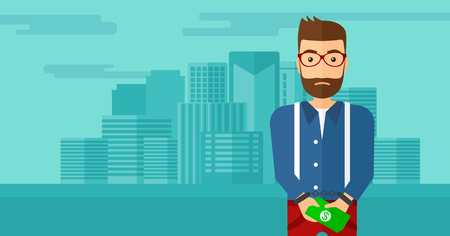 prisoner of the money: A hipster man with the beard in handcuffs with money in hands on the background of modern city vector flat design illustration. Horizontal layout.