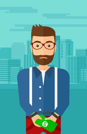 A hipster man with the beard in handcuffs with money in hands on the background of modern city vector flat design illustration. Vertical layout.