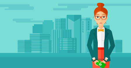 A business woman in handcuffs with money in hands on the background of modern city vector flat design illustration. Horizontal layout.