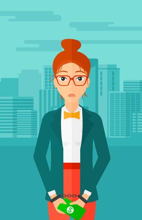 Eine Geschäftsfrau in Handschellen mit Geld in den Händen auf dem Hintergrund der modernen Stadt Vektor flache Design-Illustration. Vertikal-Layout. Standard-Bild - 53196352