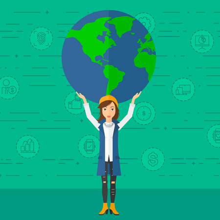 A woman holding a big globe model in hands over her  head on a green background with technology and business icons vector flat design illustration. Square layout.