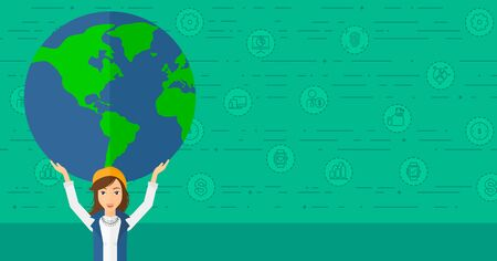 A woman holding a big globe model in hands over her  head on a green background with technology and business icons vector flat design illustration. Horizontal layout.