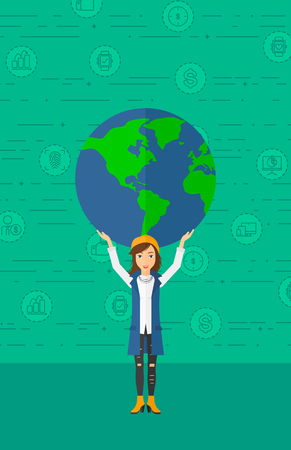 A woman holding a big globe model in hands over her  head on a green background with technology and business icons vector flat design illustration. Vertical layout.
