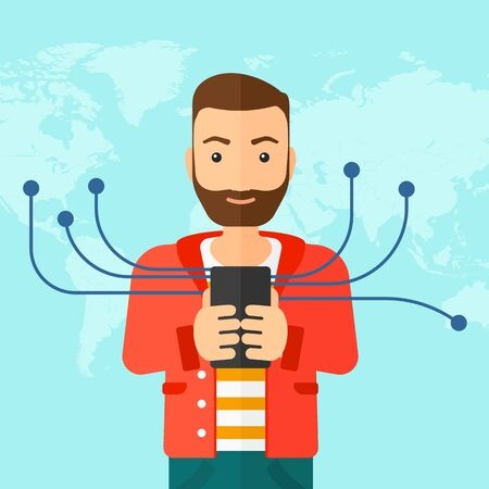 roaming: A hipster man with the beard holding smartphone connected with the whole world on a blue background vector flat design illustration. Square layout. Illustration