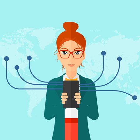 shapes cartoon: A woman holding smartphone connected with the whole world on a blue background vector flat design illustration. Square layout. Illustration