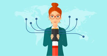 contact business: A woman holding smartphone connected with the whole world on a blue background vector flat design illustration. Horizontal layout.