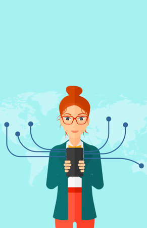 networking people: A woman holding smartphone connected with the whole world on a blue background vector flat design illustration. Vertical layout.