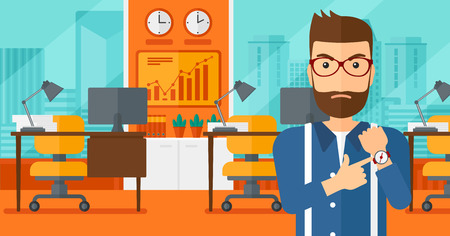 lateness: A hipster man with the beard pointing at wrist watch on the background of panoramic modern office with city view vector flat design illustration. Horizontal layout. Illustration