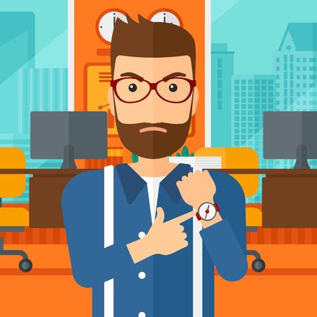 angry boss: A hipster man with the beard pointing at wrist watch on the background of panoramic modern office with city view vector flat design illustration. Square layout. Illustration