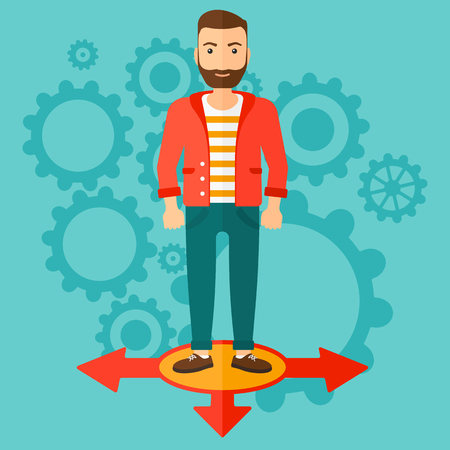 hesitate: A hipster man with the beard standing on three alternative ways on a blue background with cogwheels vector flat design illustration. Square layout.