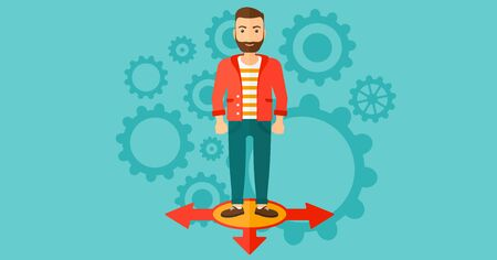hesitate: A hipster man with the beard standing on three alternative ways on a blue background with cogwheels vector flat design illustration. Horizontal layout.