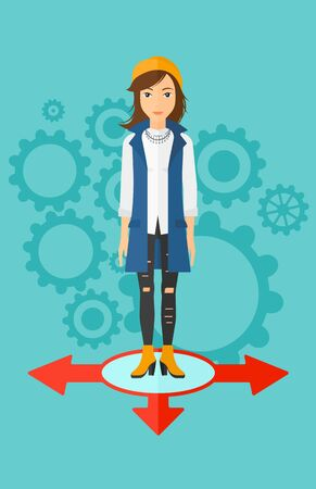 A woman standing on three alternative ways on a blue background with cogwheels vector flat design illustration. Vertical layout. Illustration