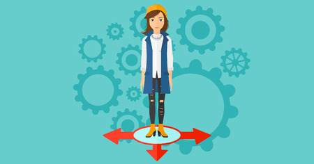 hesitate: A woman standing on three alternative ways on a blue background with cogwheels vector flat design illustration. Horizontal layout.