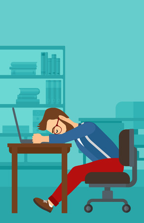 Tired employee sleeping at workplace on laptop keyboard on the background of office vector flat design illustration. Vertical layout.
