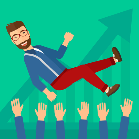 coworkers: A businessman get thrown into the air by coworkers during celebration on a green background with increasing chart vector flat design illustration. Square layout.