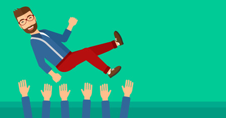 A businessman get thrown into the air by coworkers during celebration on a green background vector flat design illustration. Horizontal layout. Vectores