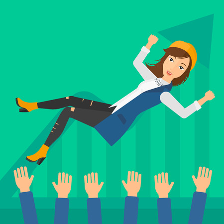 thrown: A business woman get thrown into the air by coworkers during celebration on a green background with increasing chart vector flat design illustration. Square layout. Illustration