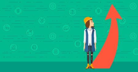 going green: A business woman looking at a red arrow going up on a green background with business icons vector flat design illustration. Horizontal layout.