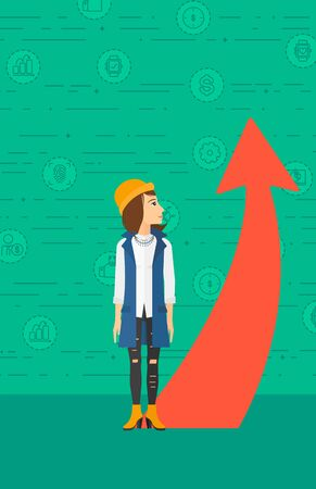 A business woman looking at a red arrow going up on a green background with business icons vector flat design illustration. Vertical layout. 向量圖像