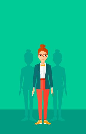 coworkers: A woman with some shadows of her coworkers behind her on a green background vector flat design illustration. Vertical layout.