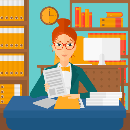 manager: A human resources manager reading application portfolios on the background of office vector flat design illustration. Square layout.