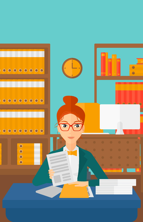 human resources manager: A human resources manager reading application portfolios on the background of office vector flat design illustration. Vertical layout.
