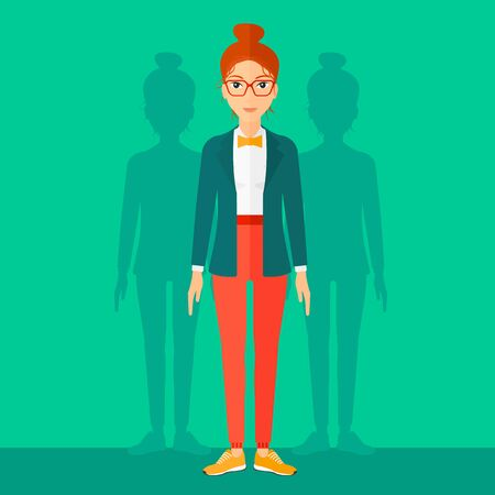 coworkers: A woman with some shadows of her coworkers behind her on a green background vector flat design illustration. Square layout.