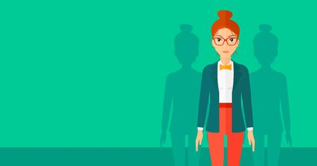 coworkers: A woman with some shadows of her coworkers behind her on a green background vector flat design illustration. Horizontal layout.