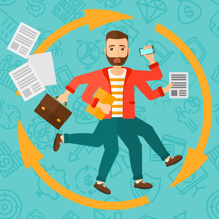 many hands: A hipster man with many hands holding papers, suitcase, devices on a blue background with business icons vector flat design illustration. Square layout. Illustration