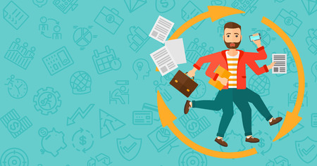 many hands: A hipster man with many hands holding papers, suitcase, devices on a blue background with business icons vector flat design illustration. Horizontal layout.