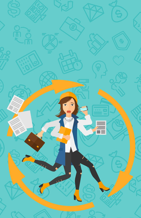 hand holding paper: A woman with many hands holding papers, suitcase, devices on a blue background with business icons vector flat design illustration. Vertical layout.