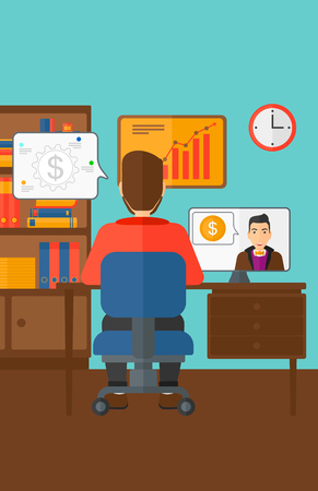 A man sitting in the office and talking with other man using video chat vector flat design illustration. Vertical layout. Ilustrace
