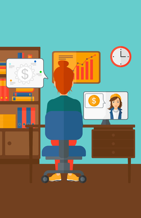 A woman sitting in the office and talking with other woman using video chat vector flat design illustration. Vertical layout. Ilustrace
