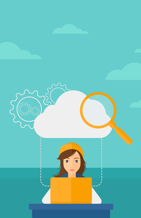 woman laptop: A woman working on laptop and a cloud, loupe and gears above her on the background of blue sky vector flat design illustration. Vertical layout.