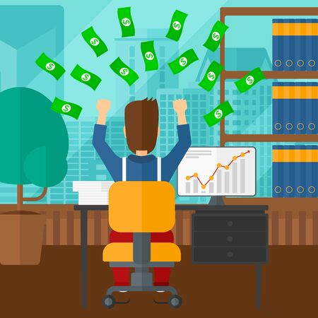 A man sitting in front of computer with raised hands and money flying above him on the background of panoramic modern office with city view vector flat design illustration. Square layout. Illustration