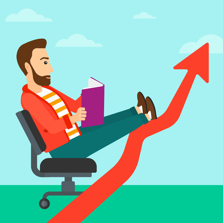 A hipster man with the beard sitting in chair with a book in hands while his legs lay on an uprising arrow on the background of blue sky vector flat design illustration. Square layout. Illustration