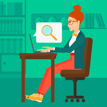 woman using laptop: A business woman sitting in the office and doing an internet search using a laptop on the background of office vector flat design illustration. Square layout.