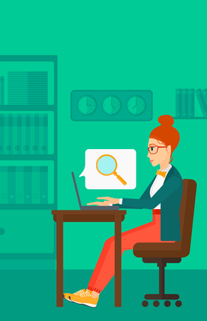 woman using laptop: A business woman sitting in the office and doing an internet search using a laptop on the background of office vector flat design illustration. Vertical layout.
