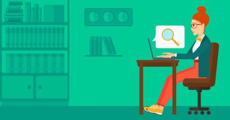 woman using laptop: A business woman sitting in the office and doing an internet search using a laptop on the background of office vector flat design illustration. Horizontal layout. Illustration