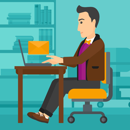 A man sitting at the table in front of laptop with a big envelope above on the background of office vector flat design illustration. Square layout.