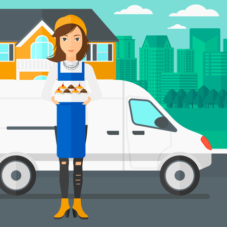 A woman holding a box of cakes on the background of the city and delivery truck vector flat design illustration. Square layout.