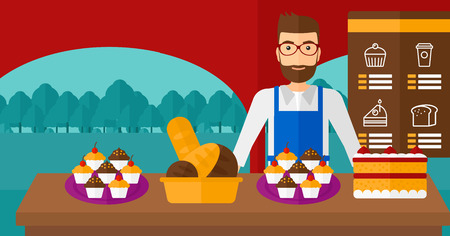 A hipster man with the beard standing in front of table with pastry on the background of bakery vector flat design illustration. Horizontal layout.
