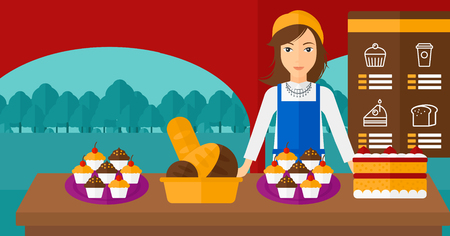 proprietor: A woman standing in front of table with pastry on the background of bakery vector flat design illustration. Horizontal layout. Illustration