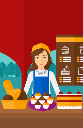 proprietor: A woman standing in front of table with pastry on the background of bakery vector flat design illustration. Vertical layout.