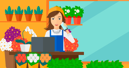 business phone: A woman taking an order by phone on the background of flower shop vector flat design illustration. Horizontal layout.
