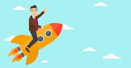 man pointing up: A man flying on the rocket with a forefinger pointing up on the background of blue sky vector flat design illustration. Horizontal layout. Illustration