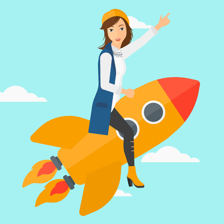 woman pointing up: A woman flying on the rocket with a forefinger pointing up on the background of blue sky vector flat design illustration. Square layout. Illustration