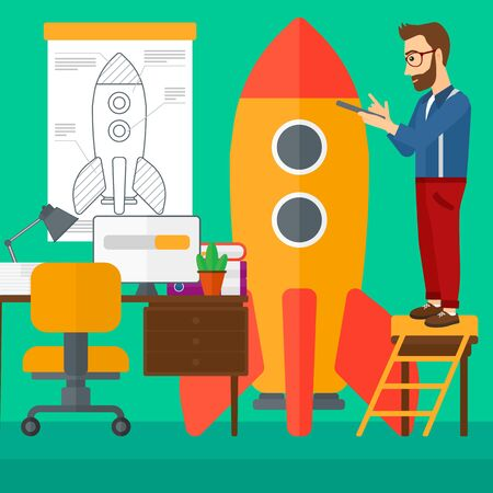 engeneering: A hipster man with the beard standing on ladder and engeneering a rocket on the background of workspace vector flat design illustration. Square layout.