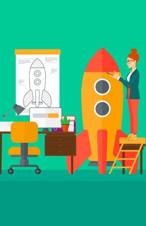 engeneering: A woman standing on ladder and engeneering a rocket on the background of workspace vector flat design illustration. Vertical layout.
